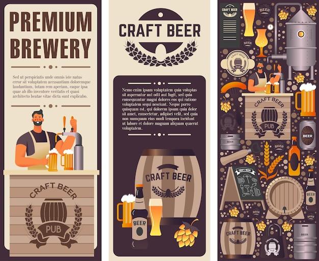 Cervejaria premium e banner de produção de cerveja artesanal