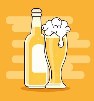 Cervejas em garrafa e copo,