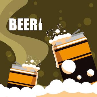 Cervejas em latas ícone isolado