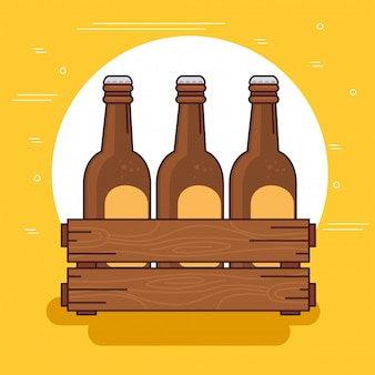 Cervejas na caixa de madeira,