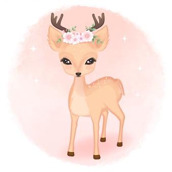 Cervo bonito com buquê na cabeça ilustração