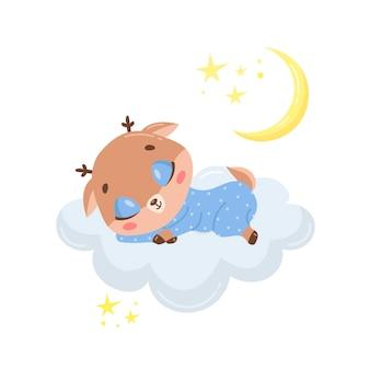 Cervo bonito dos desenhos animados dormindo em uma nuvem.