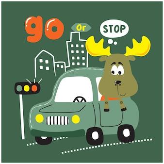 Cervo no carro desenho animado animal