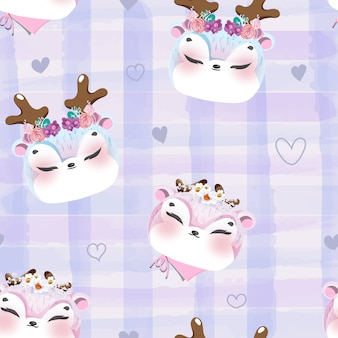 Cervos do bebê do doodle do teste padrão na aguarela.