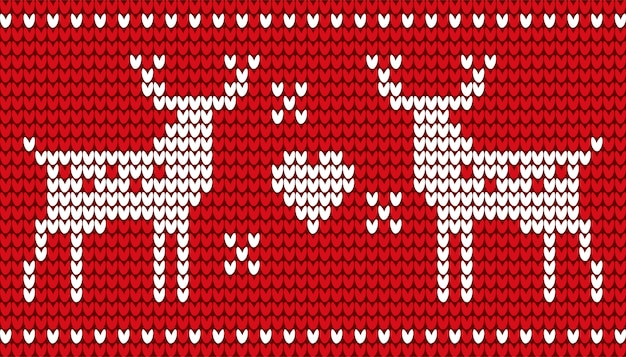 Cervos e bordado vermelho do coração para o natal