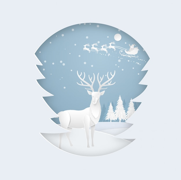 Cervos na floresta com neve e santa na estação do inverno. natal, ano novo