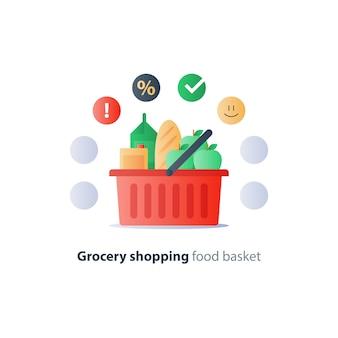 Cesta cheia de alimentos, compras de supermercado, produtos de consumo, sinal de oferta especial, símbolo de venda