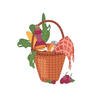 Cesta com alimentos e bebidas isolado plana cartoon ícone vetor recipiente de vime com folhas verdes