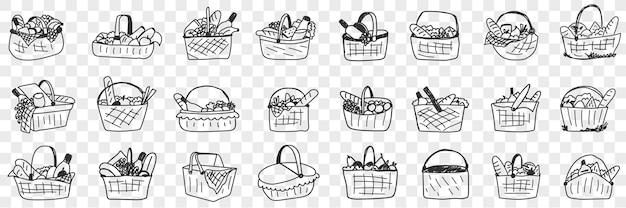 Cesta com conjunto de doodle de comida