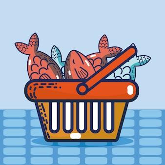 Cesta com frutos do mar super produtos do mercado