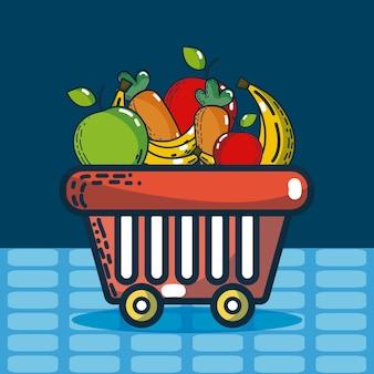 Cesta com mantimentos produtos super mercado