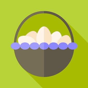 Cesta com ovos. ilustração estilizada plana com sombra