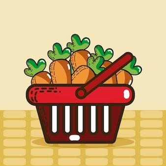 Cesta com produtos de super mercado de cenouras