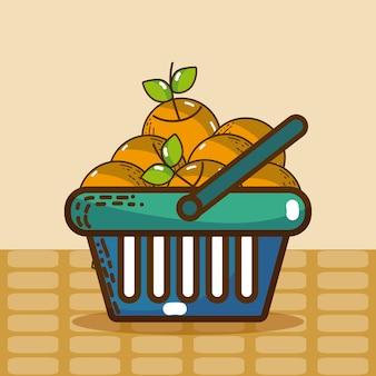 Cesta com produtos de super mercado de laranjas