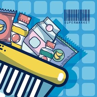 Cesta com produtos de super mercado