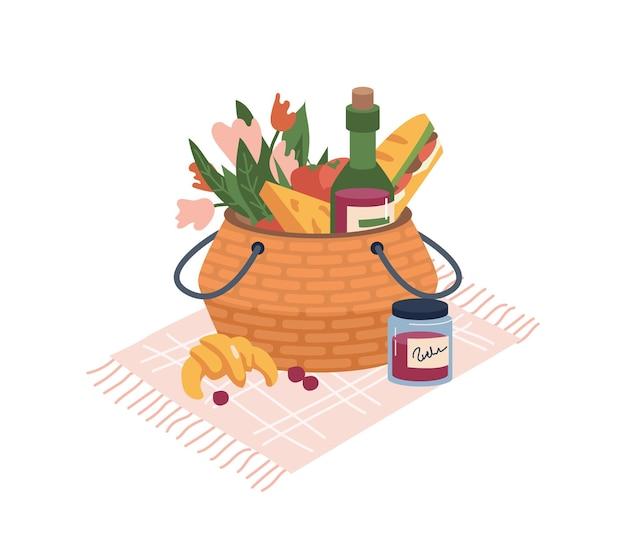 Cesta com produtos para piquenique isolado ícone dos desenhos animados planos alimentos e bebidas queijo e pão