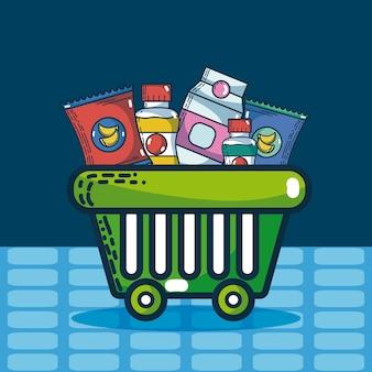 Cesta com produtos super mercado ilustração vetorial