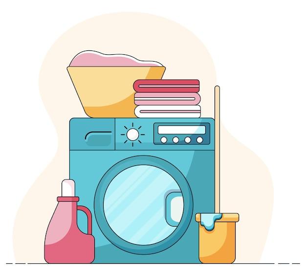Cesta conceito doméstico com roupas sujas e toalhas na máquina de lavar