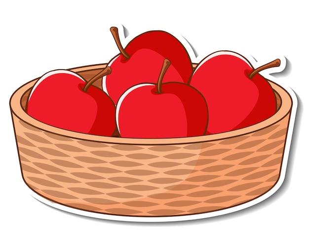 Cesta de adesivos com muitas maçãs vermelhas