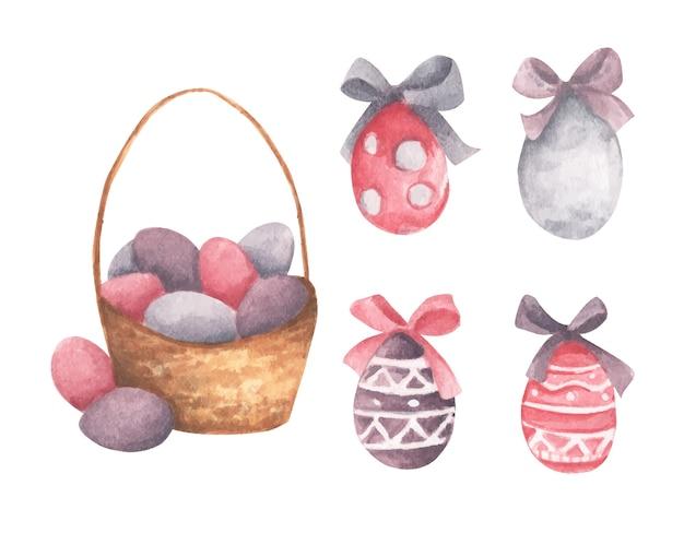 Cesta de aquarela com ovos de páscoa