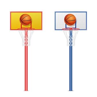 Cesta de basquete com uma bola