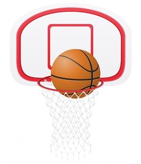 Cesta de basquete e bola