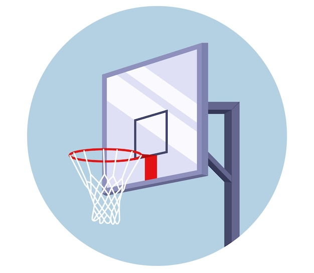 Cesta de basquete inscrita em um círculo. equipamento para esportes. jogo de bola. ilustração vetorial