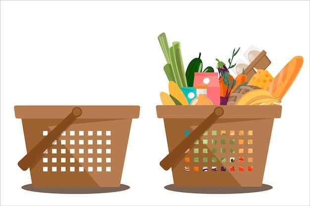 Cesta de compras cheia de alimentos orgânicos frescos e naturais saudáveis