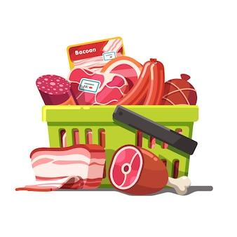Cesta de compras cheia de carne. cru e preparado