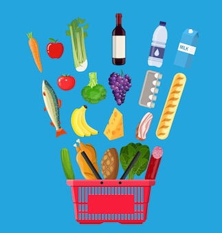 Cesta de compras cheia de produtos de mercearia.