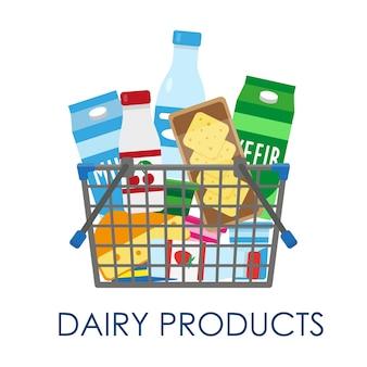Cesta de compras cheia de produtos lácteos.