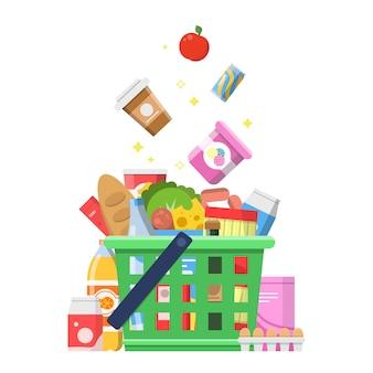 Cesta de compras com comida. salsicha leite frutas vinho macarrão queijo entrega compras conceito