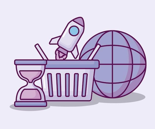Cesta de compras com economia de conjunto de ícones