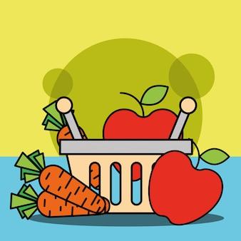 Cesta de compras com frutas e legumes maçã cenoura