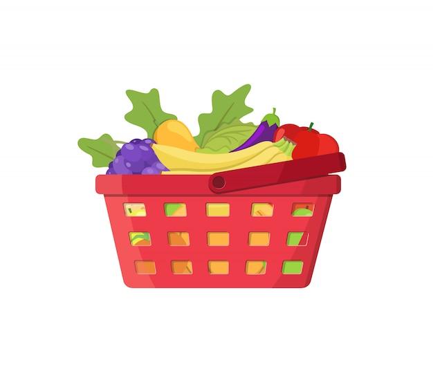 Cesta de compras com frutas e legumes