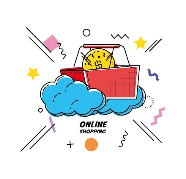 Cesta de compras comprar o projeto de ilustração vetorial ícone on-line