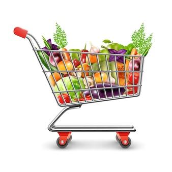 Cesta de compras de frutas e legumes frescos