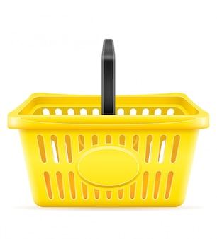 Cesta de compras de plástico na loja