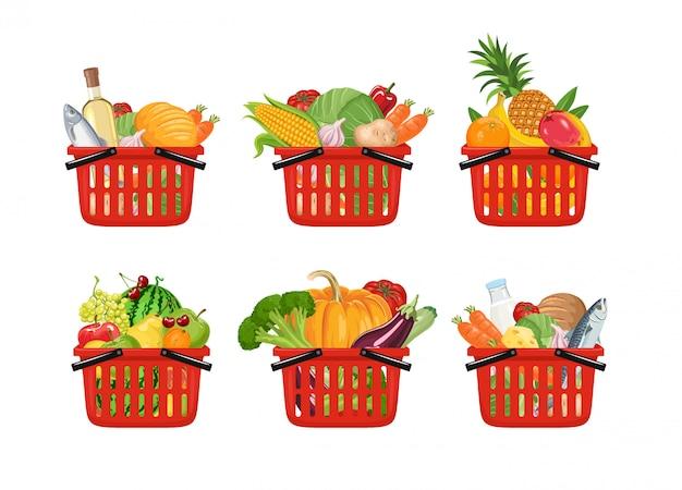 Cesta de compras de supermercado cheia de conjunto diferente de alimentos frescos.