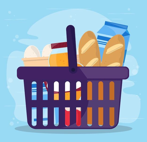 Cesta de compras e comida