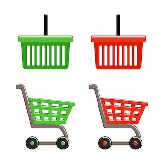 Cesta de compras e conjunto de carrinho de compras