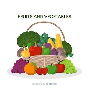 Cesta de frutas e legumes desenhada de mão