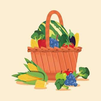 Cesta de frutas e legumes frescos