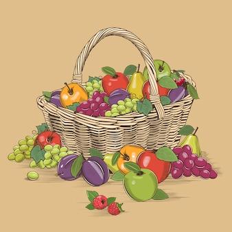 Cesta de frutas em estilo xilogravura
