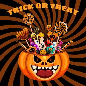 Cesta de halloween trick or treat pumpkin bag cheia de doces e guloseimas.