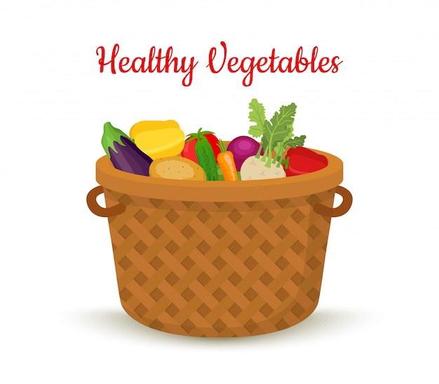 Cesta de legumes, caixa de vime, produtos agrícolas