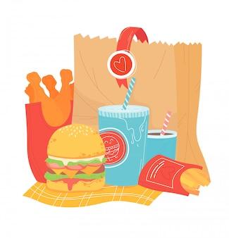 Cesta de pacote de papel de alimentos pouco saudáveis, item fast food isolado no branco