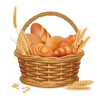 Cesta de padaria. produtos de almoço de cozinha de pão fatiado doce fresco em ilustrações realistas de vetor de cesta