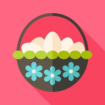 Cesta de páscoa com ovos e flores. ilustração estilizada plana com sombra