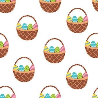 Cesta de páscoa com padrão sem emenda de ovos primavera em desenho animado